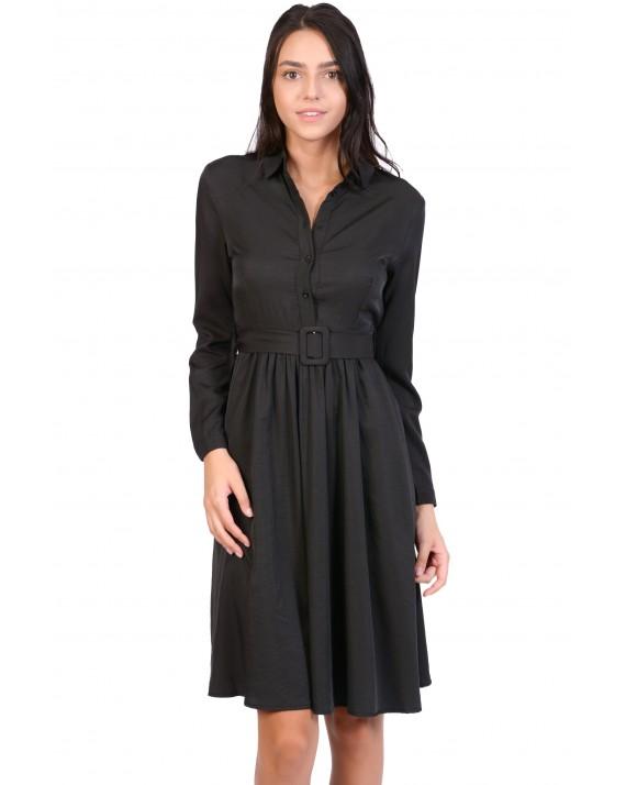 Rochie neagra uni stil camasa X1835 NG
