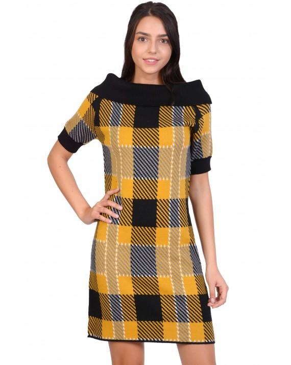 Rochie tricotata galbena cu carouri 90672 G