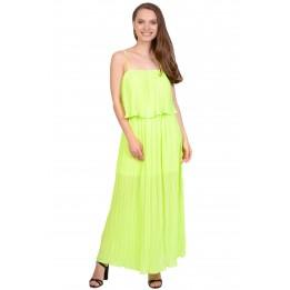 Rochie verde neon de vara cu bretele 2460