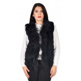 Vesta bleumarin din blana de iepure cu insertii 252500 BM